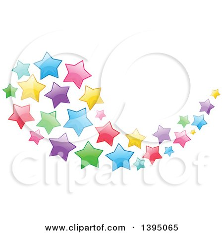 Clipart Of A Colorful Swoosh Cluster Of Stars Royalty Free Vector Illustration