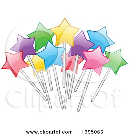 Clipart of a Colorful Cluster of Stars on Sticks - Royalty Free Vector Illustration by Liron Peer