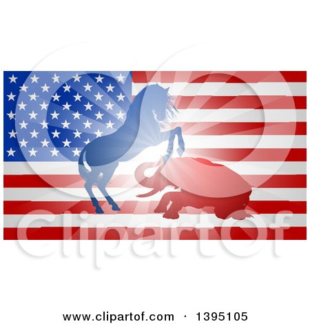 Clipart of a Silhouetted Political Aggressive Democratic Donkey or Horse and Republican Elephant Fighting over a USA Flag - Royalty Free Vector Illustration by AtStockIllustration
