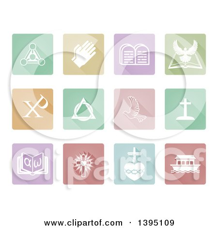 Clipart of White Christian Icons on Square Colorful Pastel Tiles - Royalty Free Vector Illustration by AtStockIllustration