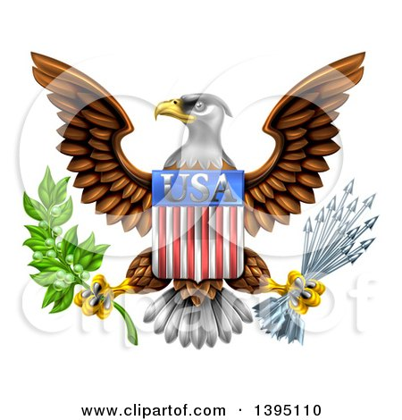 Clipart of the Great Seal of the United States Bald Eagle with an American USA Flag Shield, Holding an Olive Branch and Silver Arrows - Royalty Free Vector Illustration by AtStockIllustration