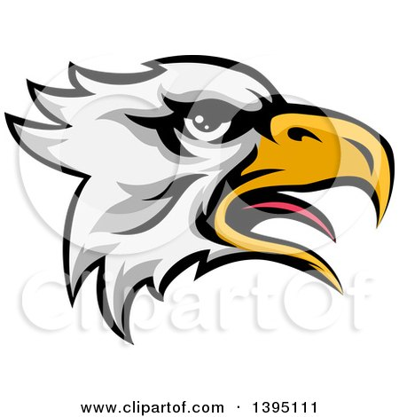 Clipart of a Cartoon Bald Eagle Head - Royalty Free Vector Illustration by AtStockIllustration