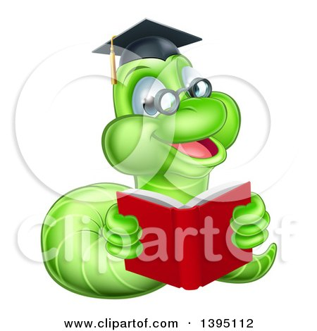 Clipart of a Happy Bespectacled Green Professor or Graduate Earthworm Reading a Red Book - Royalty Free Vector Illustration by AtStockIllustration