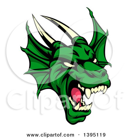 Clipart of a Demonic Roaring Green Dragon Head - Royalty Free Vector Illustration by AtStockIllustration