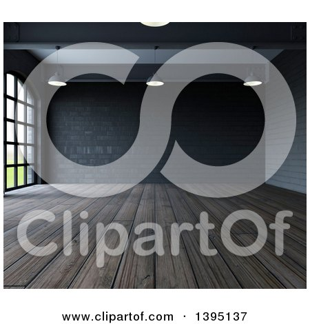 Clipart of a 3d Industrial Warehouse Loft Interior with Hanging Lights, Big Windows and Wood Floors - Royalty Free Illustration by KJ Pargeter