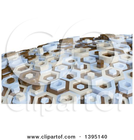 Clipart of a 3d Abstract Brown, Tan and Blue Hexagon Pattern Background - Royalty Free Illustration by KJ Pargeter