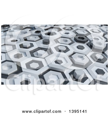 Clipart of a 3d Abstract White and Black Hexagon Pattern Background - Royalty Free Illustration by KJ Pargeter
