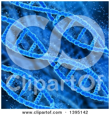 Clipart of a Background of 3d Diagonal Blue Dna Strands Pixelating - Royalty Free Illustration by KJ Pargeter