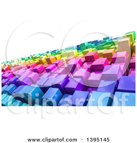 Clipart of a Background of 3d Colorful Cubes Resembling a Crowded Cityscape - Royalty Free Illustration by KJ Pargeter