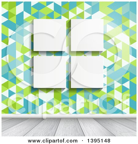 Clipart of Four Blank Canvases Hanging on a Wall with Retro Geometric Wallpaper, over White Wood Floors - Royalty Free Vector Illustration by KJ Pargeter