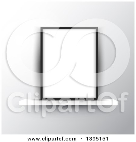 Clipart of a 3d Blank Picture Frame on a Shelf - Royalty Free Vector Illustration by KJ Pargeter
