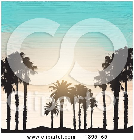 Clipart of Black Silhouetted Palm Trees and Sand over Acrylic Painted Sky and Ocean - Royalty Free Vector Illustration by KJ Pargeter