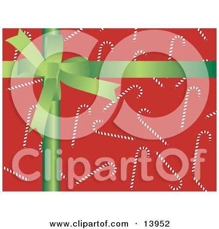 Green Bow Over Red Candy Cane Christmas Wrapping Paper Clipart Illustration