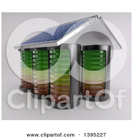 Clipart of a 3d House Made of Batteries, with a Solar Panel Roof, on an off White Background - Royalty Free Illustration by KJ Pargeter