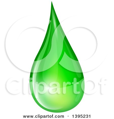 Clipart of a Reflective Green Biofuel or Slime Droplet - Royalty Free Vector Illustration by dero