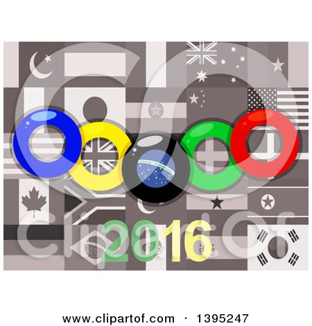 Clipart of Olympics Rings over Sepia World Flags and 2016 - Royalty Free Vector Illustration by elaineitalia
