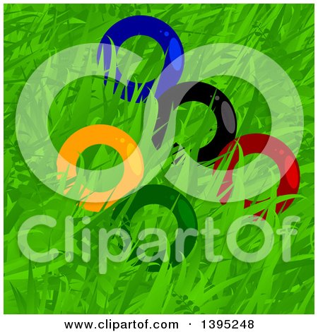 Clipart of Colorful Olympics Rings in Grass - Royalty Free Vector Illustration by elaineitalia
