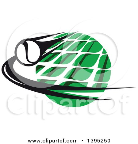 Clipart of a Black and White Flying Tennis Ball over a White Net and a Green Circle - Royalty Free Vector Illustration by Vector Tradition SM