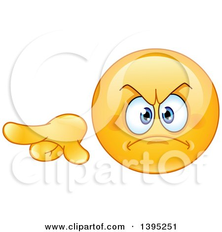 Clipart of a Cartoon Mad Yellow Smiley Face Emoticon Emoji Pointing to the Left - Royalty Free Vector Illustration by yayayoyo