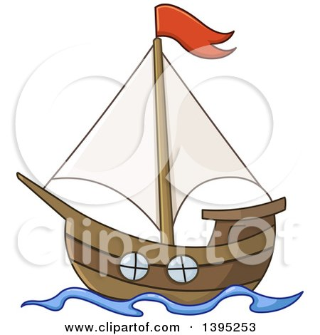 Clipart Of A Black And White Retro Sailing Boat Royalty