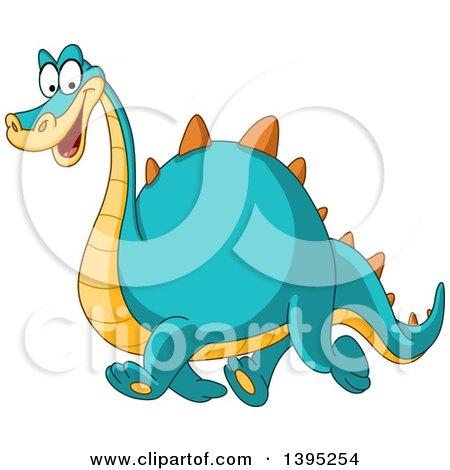 Clipart of a Cartoon Happy Yellow and Blue Dinosaur Walking - Royalty Free Vector Illustration by yayayoyo