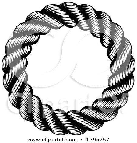 Clipart of a Black and White Woodcut or Engraved Round Nautical Rope Frame - Royalty Free Vector Illustration by AtStockIllustration