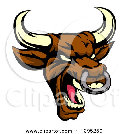 Clipart of a Demonic Roaring Brown Bull Mascot Head - Royalty Free Vector Illustration by AtStockIllustration