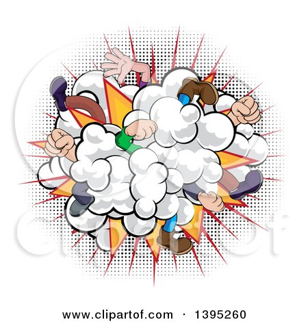 Clipart of a Comic Styled Fighting Dust Cloud with Feet and Legs over Halftone - Royalty Free Vector Illustration by AtStockIllustration