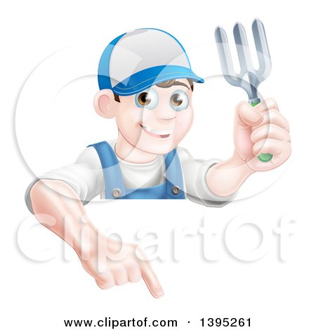 Clipart of a Young Brunette White Male Gardener in Blue, Holding a Garden Fork and Pointing down over a Sign - Royalty Free Vector Illustration by AtStockIllustration