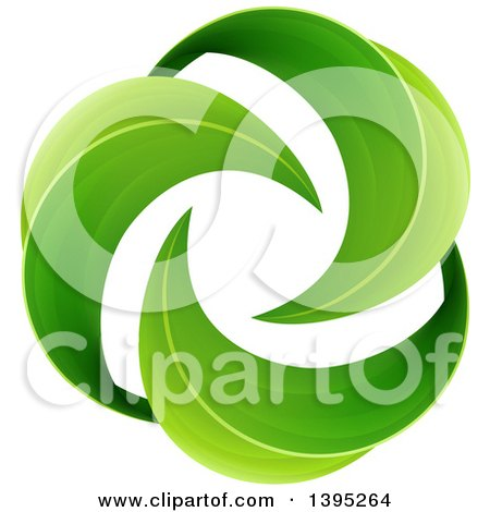 Clipart of a Spiraling Circle of Green Leaves - Royalty Free Vector Illustration by AtStockIllustration