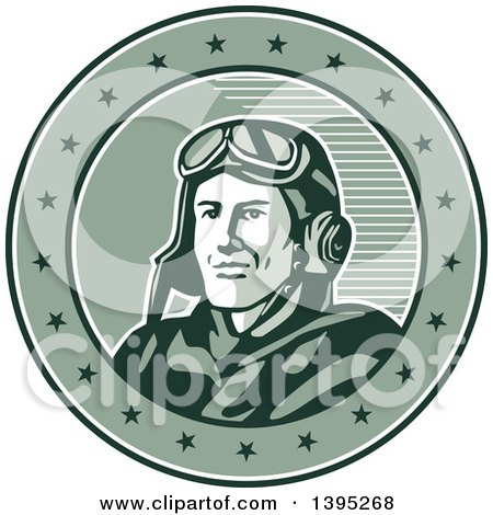 Clipart of a Retro World War One Male Pilot Aviator Smiling in a Circle with Stars - Royalty Free Vector Illustration by patrimonio