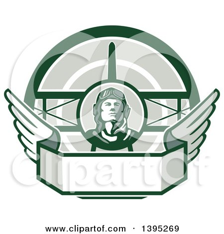 Clipart of a Retro World War One Male Pilot Aviator Looking up over a Wing Banner and Biplane, in Green Tones - Royalty Free Vector Illustration by patrimonio