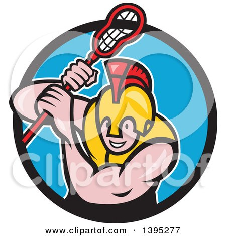 Clipart of a Cartoon Gladiator Lacrosse Player Wearing Spartan Helmet and Striking, Emerging from a Black and Blue Circle - Royalty Free Vector Illustration by patrimonio