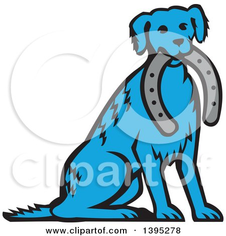 Clipart of a Retro Blue Dog Sitting with a Horseshoe in His Mouth - Royalty Free Vector Illustration by patrimonio
