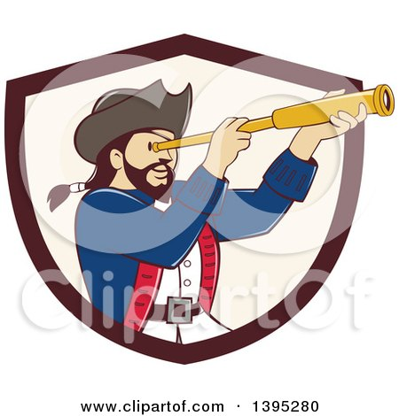 Clipart of a Retro Cartoon Male Pirate Captain Viewing Through a Spyglass, Emerging from a Brown and Beige Shield - Royalty Free Vector Illustration by patrimonio