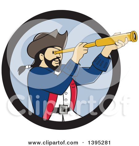 Clipart of a Retro Cartoon Male Pirate Captain Viewing Through a Spyglass, Emerging from a Black and Blue Circle - Royalty Free Vector Illustration by patrimonio