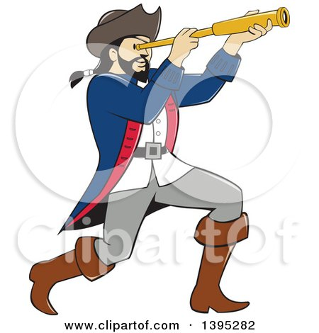 Clipart of a Retro Cartoon Male Pirate Captain Viewing Through a Spyglass - Royalty Free Vector Illustration by patrimonio