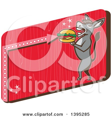 Clipart of a Retro Donkey Standing Upright and About to Take a Bite out of a Cheeseburger on a Red Sign - Royalty Free Vector Illustration by patrimonio