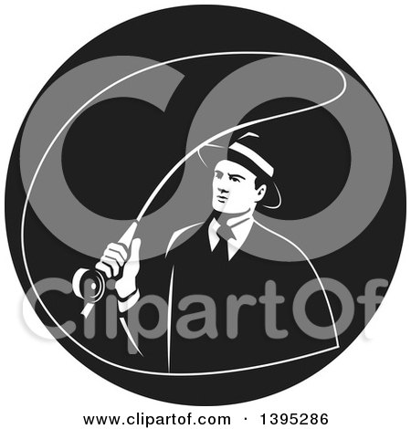 Clipart of a Retro Mobster Gangster Guy Fly Fishing in a Black and White Circle - Royalty Free Vector Illustration by patrimonio