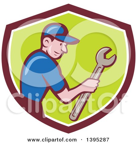 Retro Cartoon White Handy Man Holding a Spanner Wrench in a Shield Posters, Art Prints