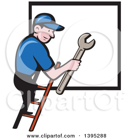 Retro Cartoon White Handy Man Holding a Spanner Wrench and Climbing a Ladder to a Window or Sign Posters, Art Prints