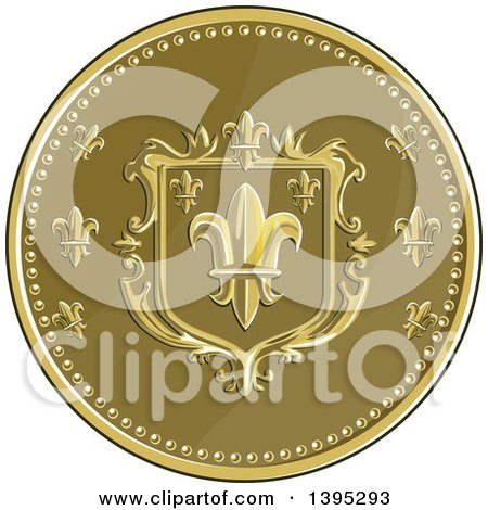 Clipart of a Retro Round Fleur De Lis Coat of Arms Shield - Royalty Free Vector Illustration by patrimonio