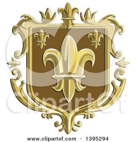 Clipart of a Retro Fleur De Lis Coat of Arms Shield - Royalty Free Vector Illustration by patrimonio