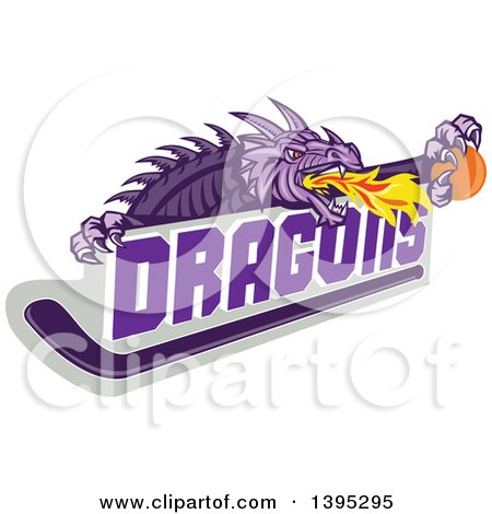 Clipart of a Retro Purple Fire Breathing Dragon Holding a Ball over Text and Hockey Stick - Royalty Free Vector Illustration by patrimonio