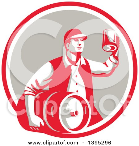 Clipart of a Retro Man Carrying a Beer Keg and Holding up a Mug of Beer in a Red White and Taupe Circle - Royalty Free Vector Illustration by patrimonio