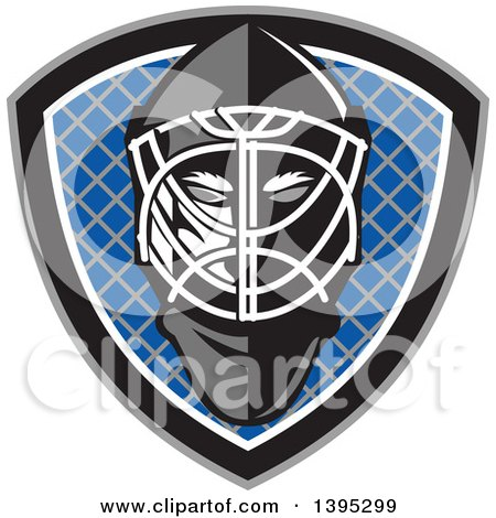 Clipart of a Retro Ice Hockey Goalie Helmet over a Net in a Gray Black White and Blue Shield - Royalty Free Vector Illustration by patrimonio