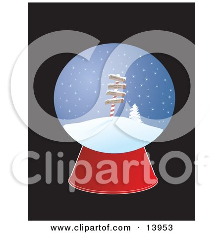 Christmas Snow Globe With Directional Signs For the North Pole, New York, Paris and London Clipart Illustrati by Rasmussen Images