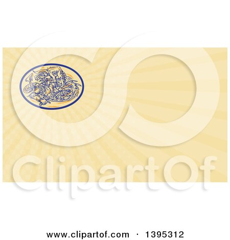 Clipart of a Sketched Scene of St George Fighting a Dragon in an Oval and Rays Background or Business Card Design - Royalty Free Illustration by patrimonio