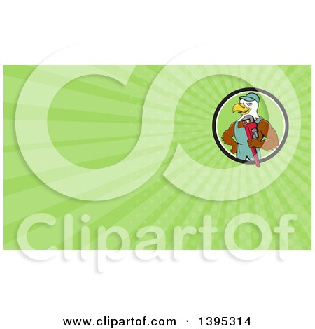 Clipart of a Cartoon Bald Eagle Plumber Man Holding a Monkey Wrench and Green Rays Background or Business Card Design - Royalty Free Illustration by patrimonio