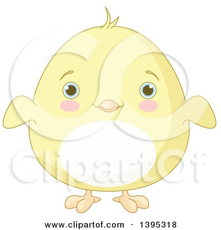 Clipart of a Cute Baby Yellow Chick with Blushing Cheeks - Royalty Free Vector Illustration by Pushkin